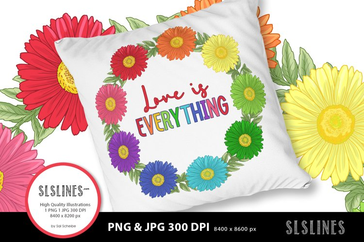 Daisy Wreath - Love is Everything PNG sublimation example image 1