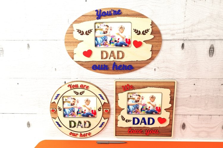 father's day photo frame design for glowforge cnc laser cutter svg dxf file