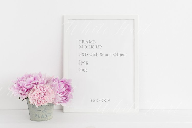 A3 frame mockup with peonies