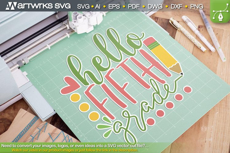 Fifth grade Hello world SVG cute clipart by Artworks SVG