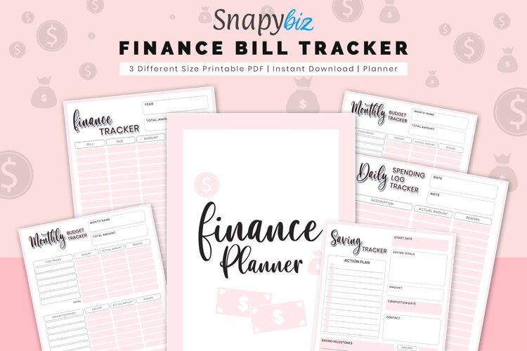 Finance Planner, Bill Tracker, Monthly Budget, Saving Track