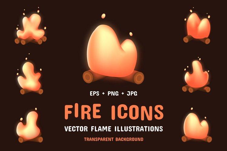 Cartoon bonfire. Fire icons