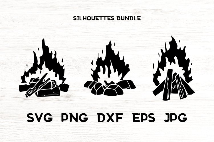 Fire flame campfire vector illustrations. Silhouettes. BBQ