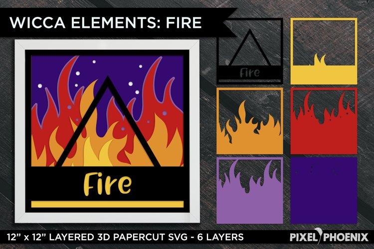 Layered Papercut Wicca Element Fire, Layered SVG