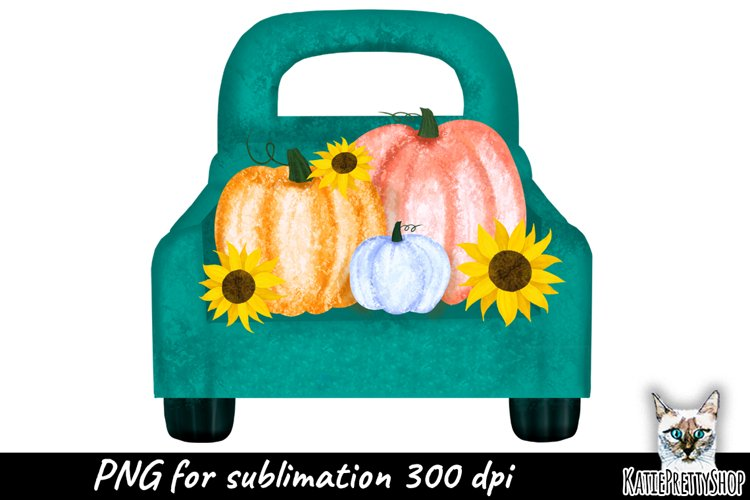 Truck with Pumpkins Sublimation Design, fall yall