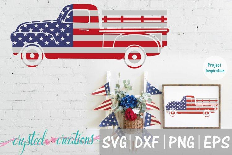 Flag Vintage Truck SVG, DXF, PNG, EPS