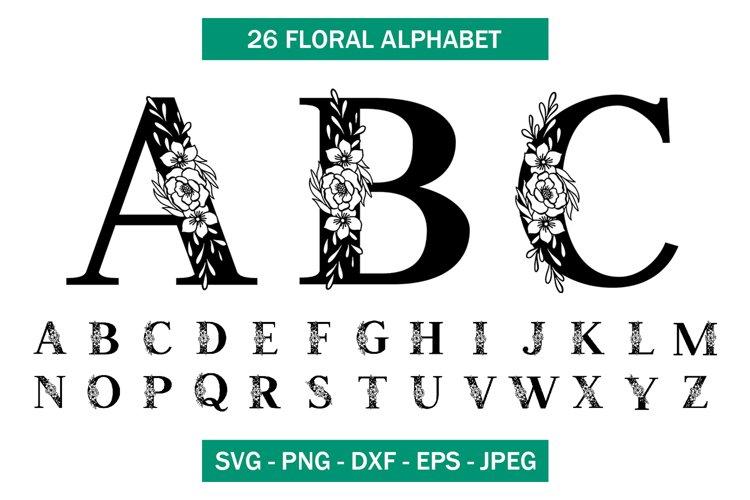 Floral Alphabet SVG, Flower Font Cut file
