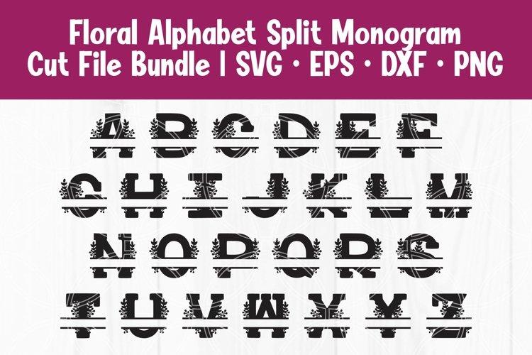 Floral Split Monogram Alphabet Letters SVG EPS DXF Cut Files