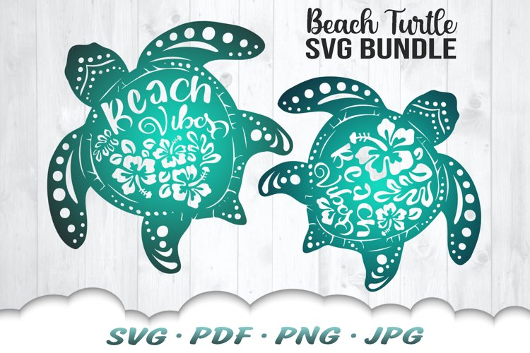 Floral Beach Vibes Sea Turtle SVG Bundle