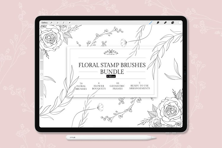 Floral Stamp Brushes for Procreate, Procreate Stamp Brushes