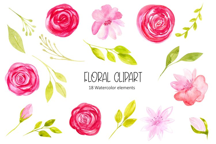 Watercolor rose floral clipart