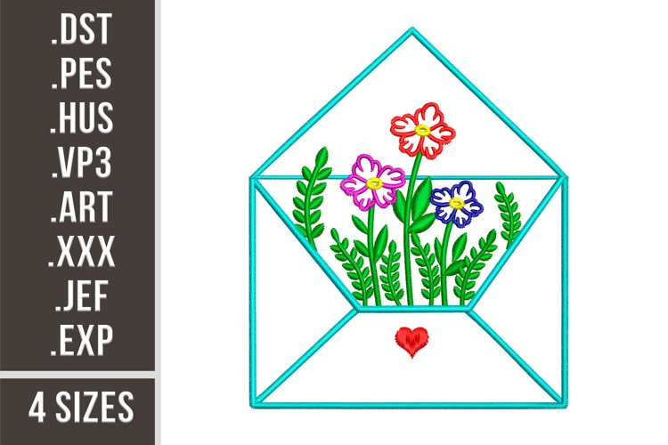 Envelope with flowers | Embroidery Design example image 1