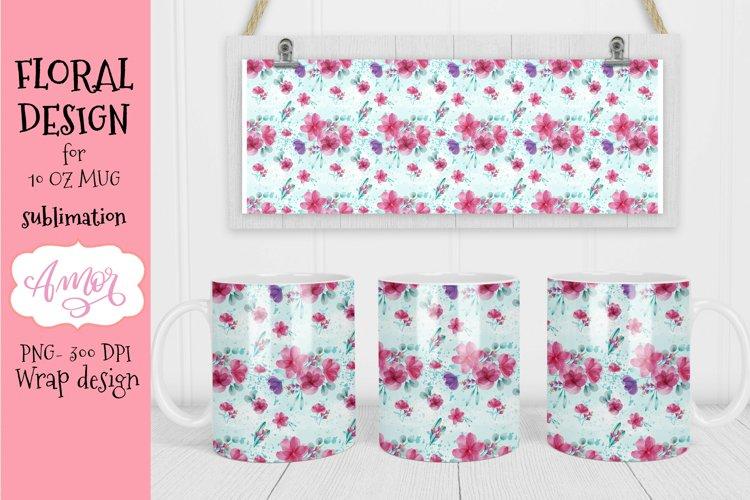 Floral design for mug sublimation 11 oz template