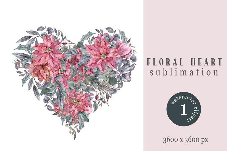 Watercolor floral heart sublimation / clipart