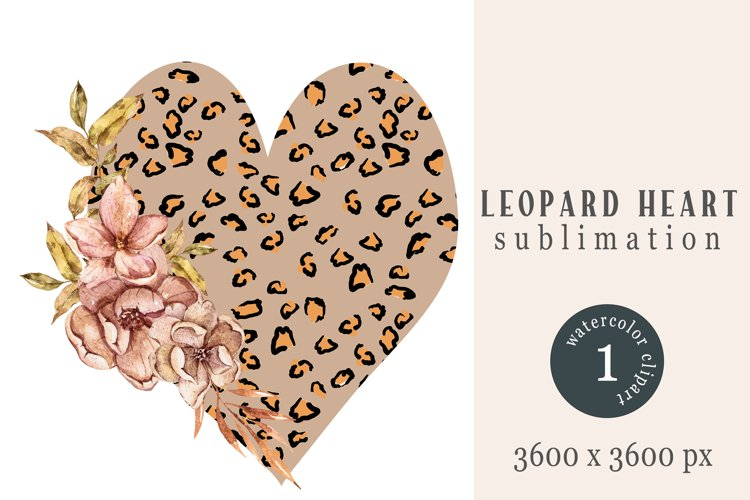 Watercolor floral leopard heart sublimation / clipart