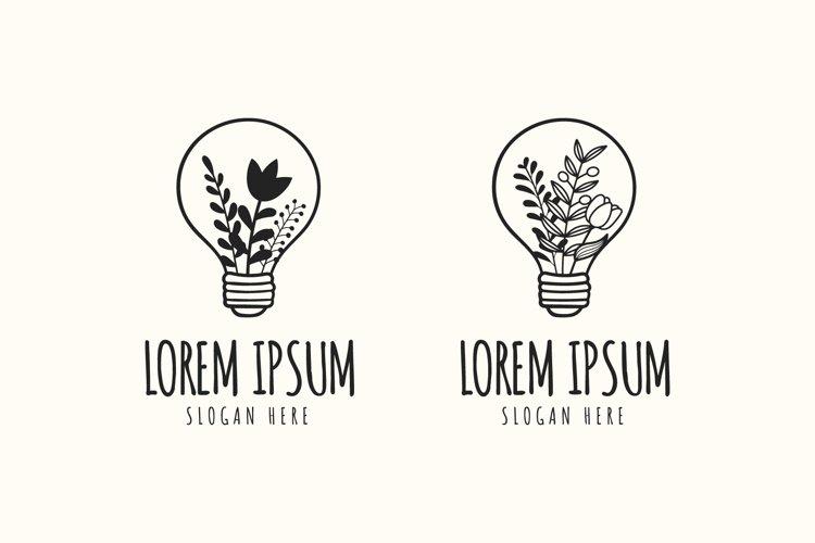 Floral Light Bulb Logo Illustrations