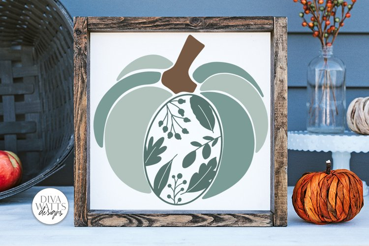 Floral Leaves Pumpkin SVG | Fall / Autumn Design example image 1