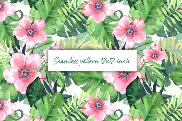 Seamless tropical pattern with pink flowers