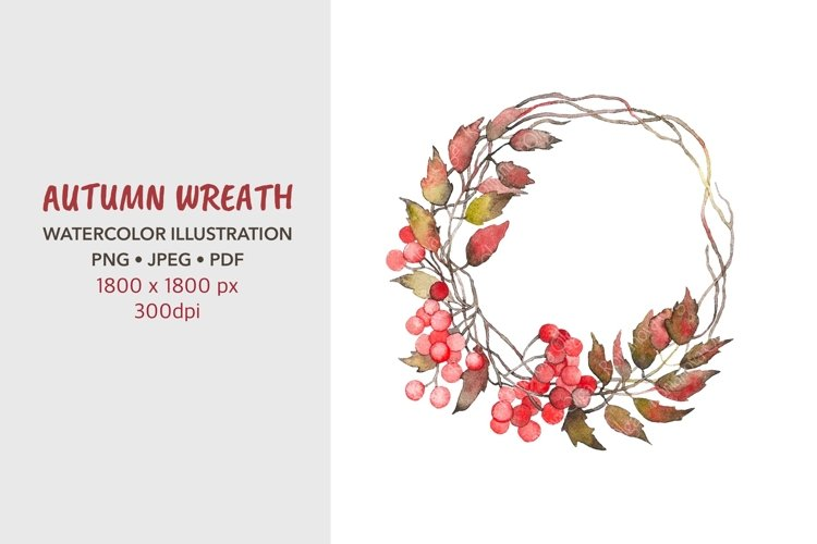 Autumn wreath. Watercolor illustrations. Png.