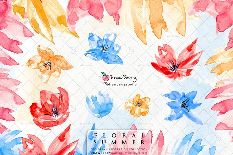 Boho Watercolor Flowers Clipart PNG | Drawberry CP026 example image 1