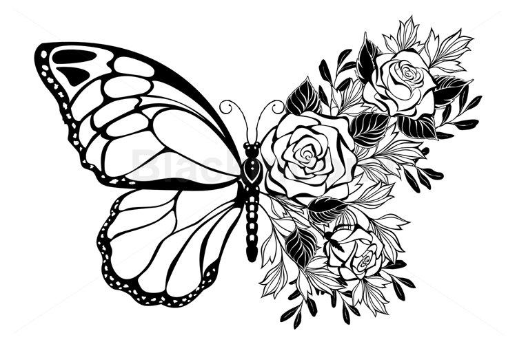 Flower Butterfly with Rose