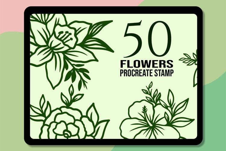 50 Flowers Procreate Brush Stamp