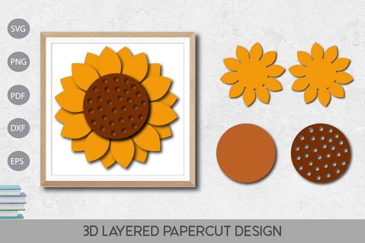Flower 3D Layered Paper Cut Design example