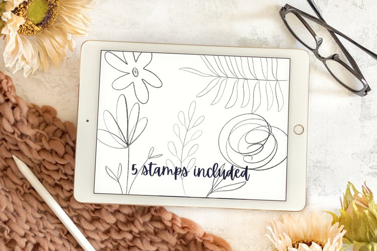 Sketched Flower Stamp Kit - Procreate Stamps example 1