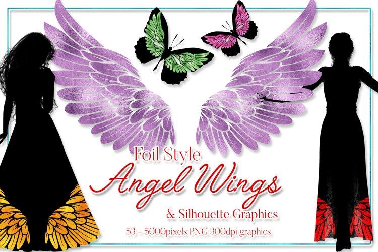 Angel Wings Clipart - Foil Style - Plus Silhouette Designs