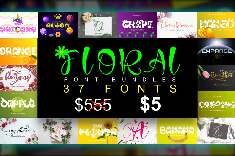 Floral Font Bundles example image 1
