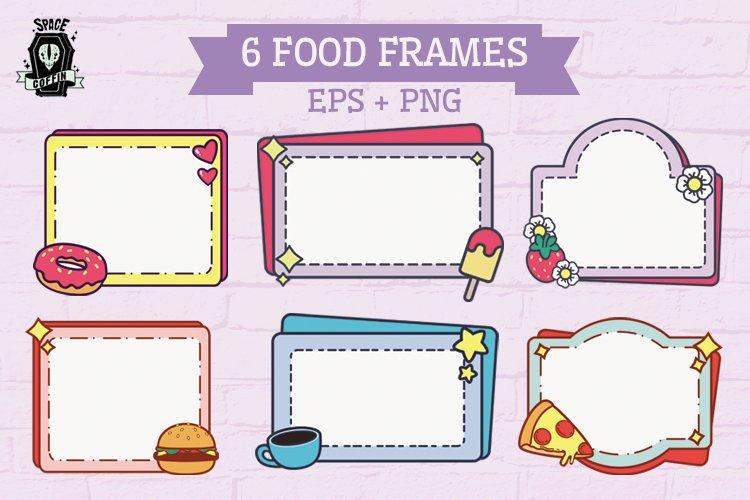 6 Food Frames Vector Desing. EPS & PNG FORMAT