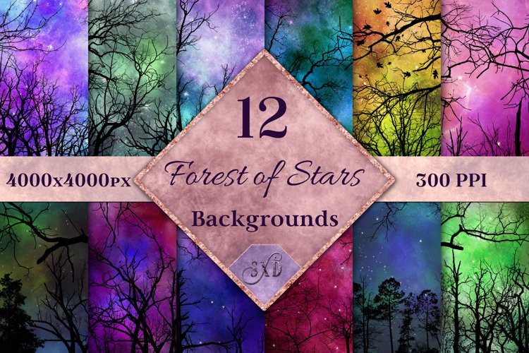 Forest of Stars Backgrounds - 12 Image Textures Set example image 1