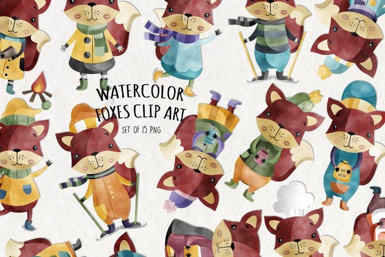 Watercolor Fox Clipart   Set of 15