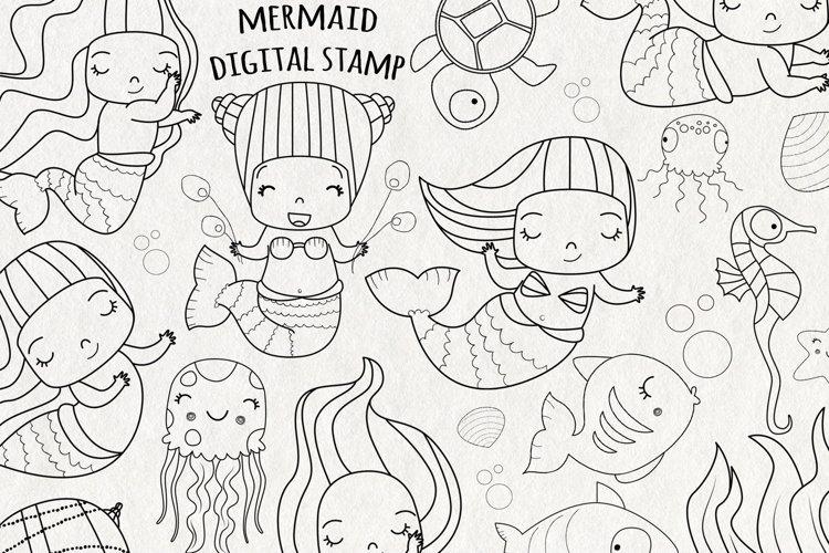 Mermaid SVG Digital Stamps   Set of 21