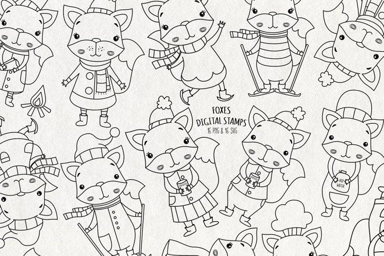 Fox SVG Digital Stamps   Set of 16