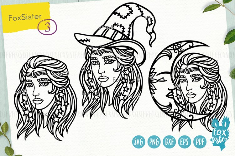 Witch svg, Witch clipart, Witch cut files, Girl face svg example image 1