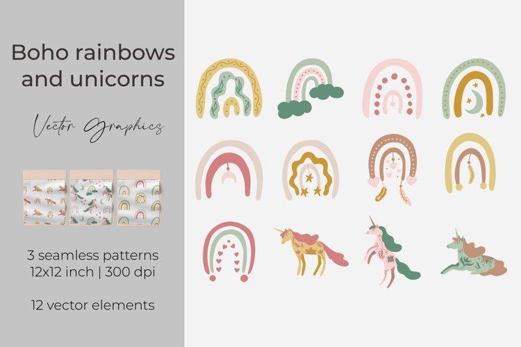 Boho rainbows and unicorns digital papers. Vector elements