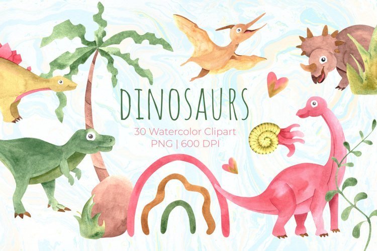 Watercolor cute dinosaurs clipart PNG example image 1