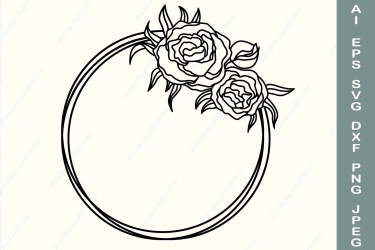 Peony wreath svg, Floral wreath svg, Circle flower frame svg