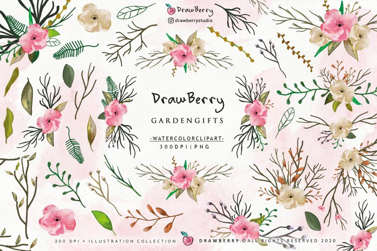Watercolor Flowers Clipart Floral Wreath PNG   Drawberry example image 1