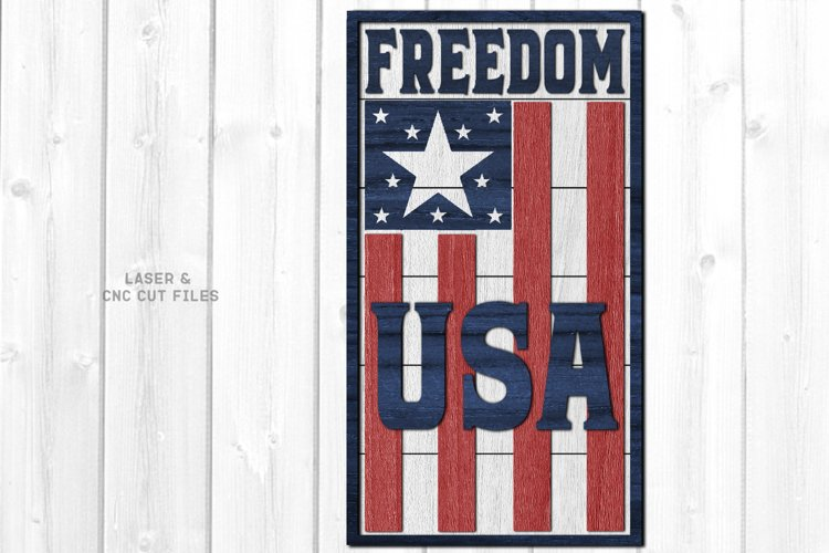Freedom USA Flag Shiplap Vertical Sign SVG Glowforge Files example image 1
