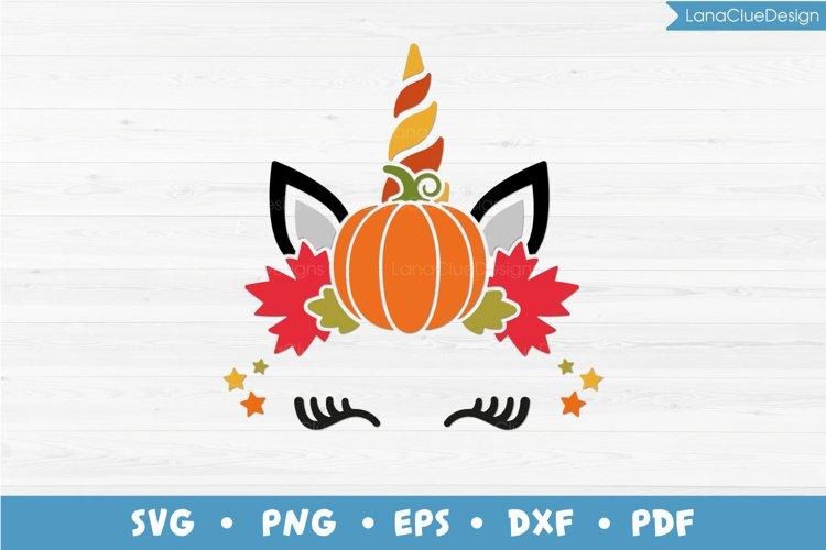 Fall Unicorn SVG, Unicorn Head with Pumpkin, Autumn Unicorn