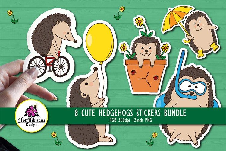 Summer Hedgehog Stickers Set, Cute Hedgehogs Sticker Bundle