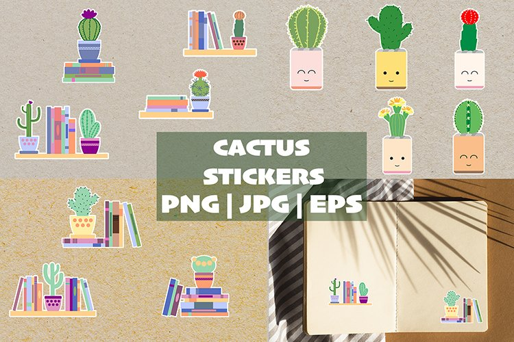 Funny set of 12 cactus stickers