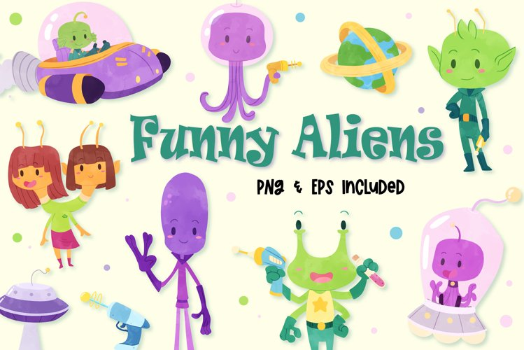 Funny Aliens Watercolor Style Clip Art example image 1