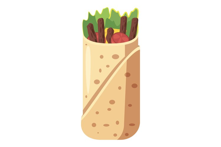 Shawarma icon, cartoon style example image 1