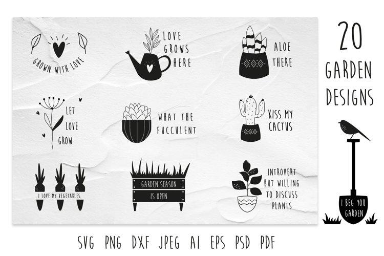 20 Garden Designs, Compositions SVG, PNG, DXF Cricut files