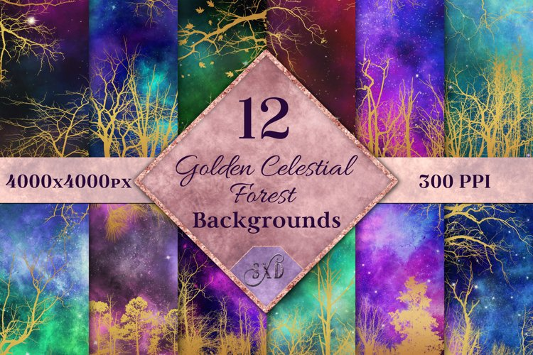 Golden Celestial Forest Backgrounds - 12 Image Textures Set example image 1