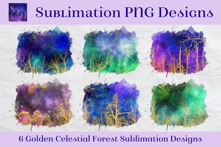 Sublimation PNG Designs - Golden Celestial Forest example image 1