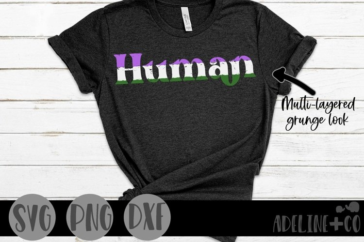 Human   Genderqueer, Pride, SVG, PNG, DXF example image 1